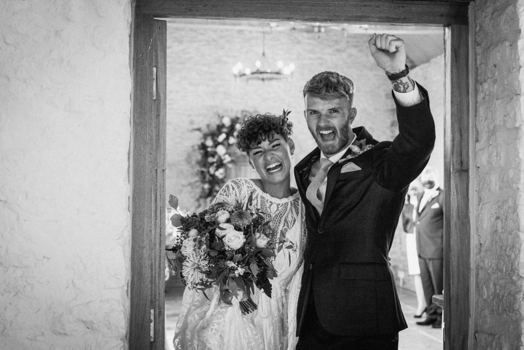 Couple celebrate after micro wedding ceremony